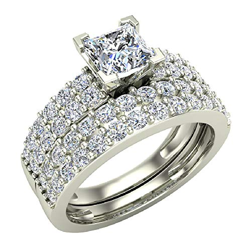 Princess Cut Accented Diamond Engagement Ring for women Two Row 1.60 carat total weight 14K White Gold (Ring Size 5)