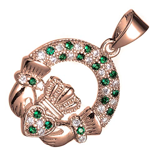 (UPCO Rose Gold Plated Emerald Green Zirconia Crystal Irish Claddagh Celtic Pendant Necklace)