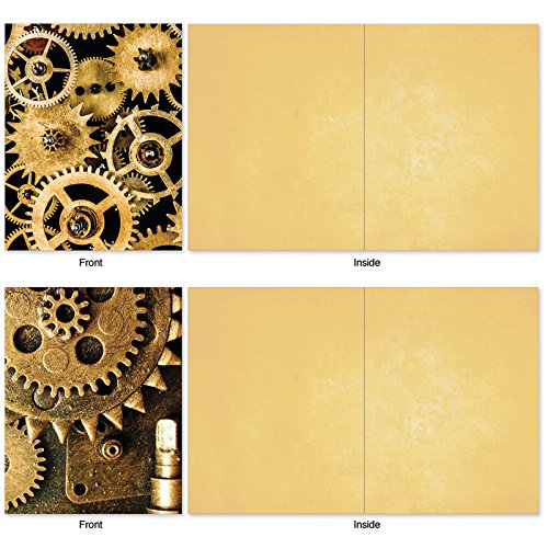 M2014 Gearing Up: 10 Assorted Blank All-Occasion Note Cards Feature Cogs, Gears and Other Things That Make Machines Tick, w/White Envelopes. Photo #6
