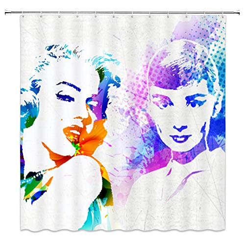 Sexy Marilyn Monroe Elegant Audrey Hepburn Decor Shower Curtain Color Painting Famous Portrait Watercolor Picture,70x70 Inch Waterproof Polyester Fabric Bathroom Accessories Curtains with 12pcs Hooks