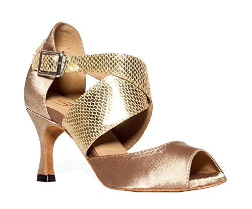 Minishion Women's TH013 Ankle Wrap Beige Satin Wedding Ballroom Latin Taogo Dance Sandals 8 M US by Minishion