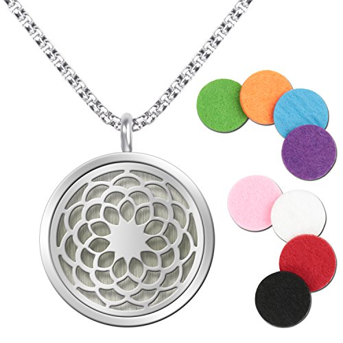 Essential Oil Diffuser Pendant Necklace,Stainless Steel Aromatherapy Diffuser Magnetic Locket Necklaces with 27.6