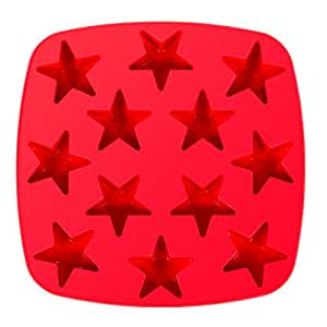 Kitchen Haven Silicone Candy Molds and Ice Cube Tray Star Shaped, 12-cavity, Red