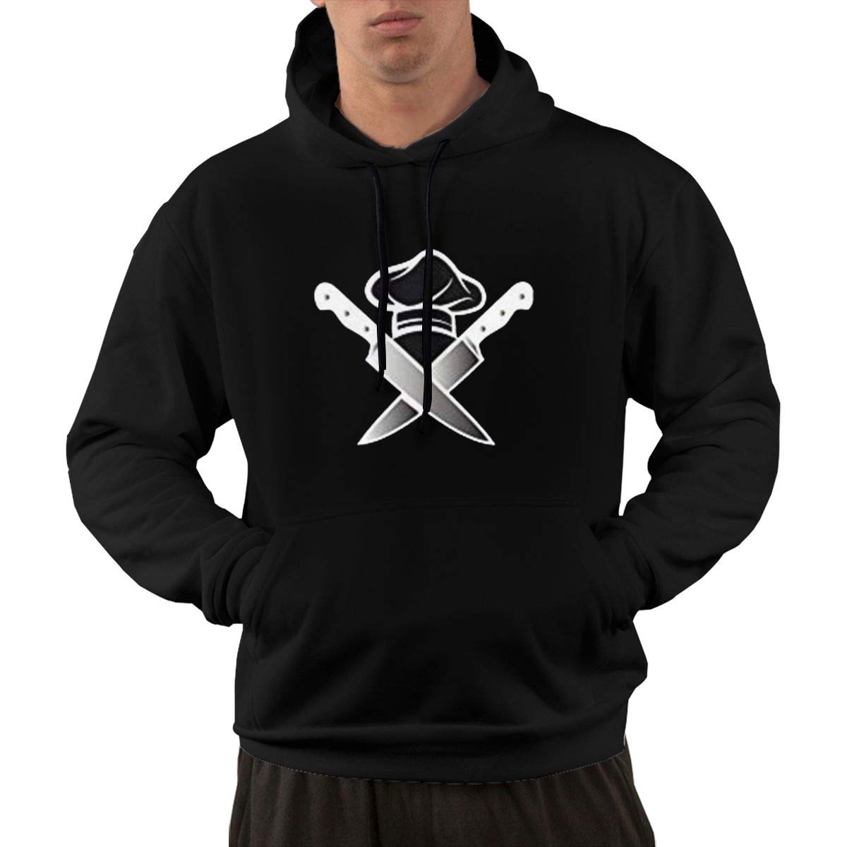 Man's XL Hoodie Running Hoodies for Boys with Chef Hat Knives Graphic Black by Monicame
