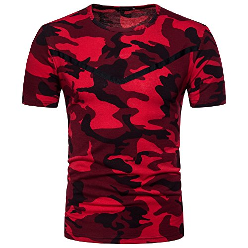 Serzul Men Casual Camouflage Print O Neck Pullover Short T-Shirt Top Blouse (M, Red) (Belt Camoflauge)