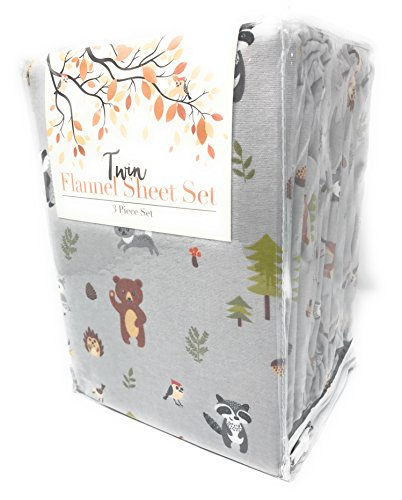 In the Woods Extra Soft 100% Cotton Flannel Twin Sheet Set (Owls, Raccoons, Bears, Porcupine, Deer)
