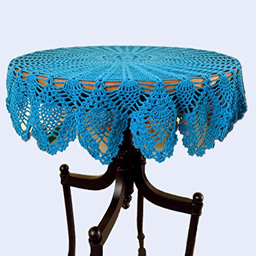 YoumeHome Handmade Crochet Lace Vintage Style Pineapple Pattern Round Tablecloth in Wide Usage for Home Decor Cotton 31.5 inches (80 cm) (Bright blue)
