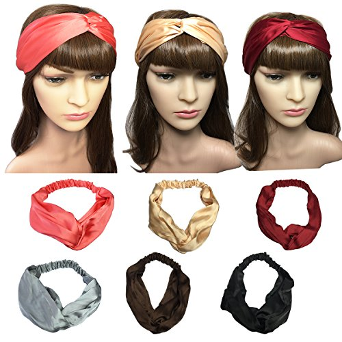YSJOY 6 Pack Women Girls Silk Satin Headbands Solid Color Elastic Hairband Twisted Turban Headwrap For Sports or (Satin Band)