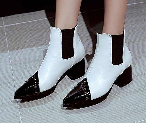 Colour Ankle Booties Elastic Boots Aisun Mid White Matching Women's Heels Dressy Chunky Studded HfHxqIRFw