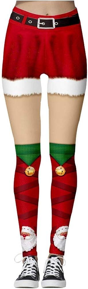 waitFOR Women Christmas High Waist Yoga Pants Ladies Xmas 3D Printing Running Trousers Teen Girls Shorts Pattern Print Elastic Long Joggings Pants Sports Pants