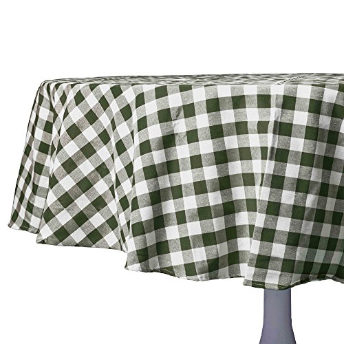 (Sage, Taupe and White Checkered Kitchen/Dining Room Tablecloth: Gingham/Plaid Design, Cotton Rich (70