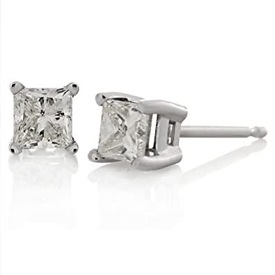 1840bb6df 0.10ct tw Square Princess-cut White Diamond 14K White Gold Stud Earrings  Basket Setting