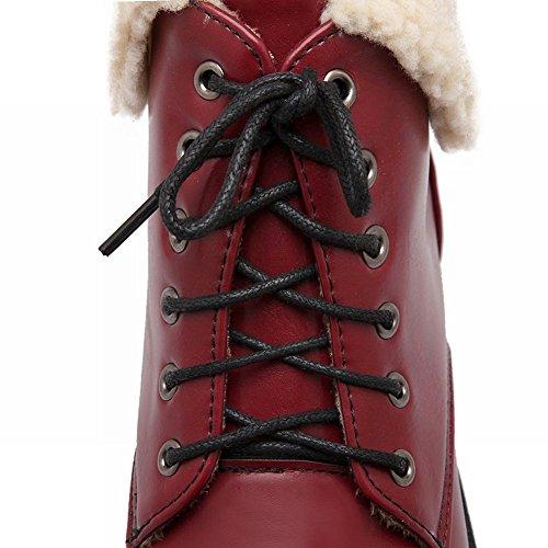 Carolbar Womens Fashion Comfort Lace up Faux Fur Winter Warm Snow Low Heel Short Boots Wine Red ptFVqUR