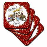 3dRose cst_252942_1 Oh Holy Night with a Cute Nativity on a Gold and Red Star Background, Set of 4 Soft Coasters