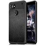 Bounceback ® ( V Series ) Google Pixel 2 XL Case Shock Proof Anti Slip Leather Pattern Armor Soft TPU Back Cover for Google Pixel 2XL (Carbon Black)