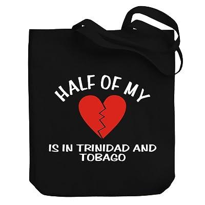 Teeburon HALF OF MY heart is in Trinidad And Tobago Canvas Tote Bag