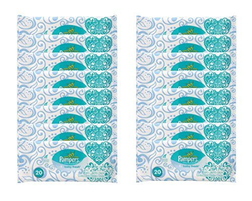 Pampers Baby Fresh Wipes Travel Pack, 20 Wipes (Pack of 16 - One Case)