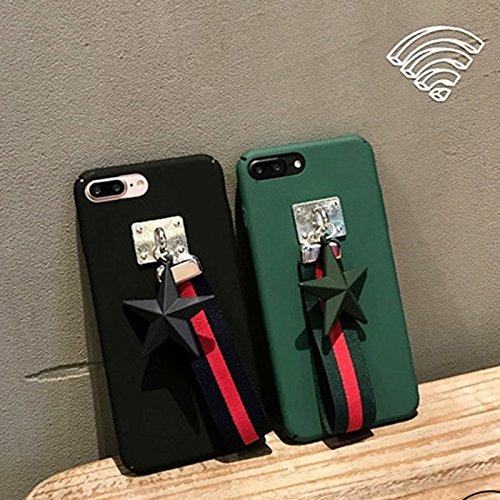 MXNET Case für IPhone 7 Plus, PU Leder Star Pandent Schutzhülle mit Stoff Lanyard CASE FÜR IPHONE 7 PLUS ( Color : Army green )