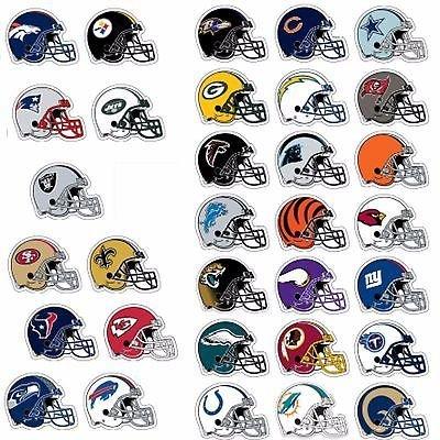 All 32 NFL Teams Logo Helmet Stickers - Complete Football Die Cut Sticker Team Set