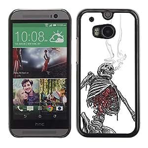 """For HTC One ( M8 ) Case , Smoking Skeleton Skull Blanco Negro"""" - Diseño Patrón Teléfono Caso Cubierta Case Bumper Duro Protección Case Cover Funda"""