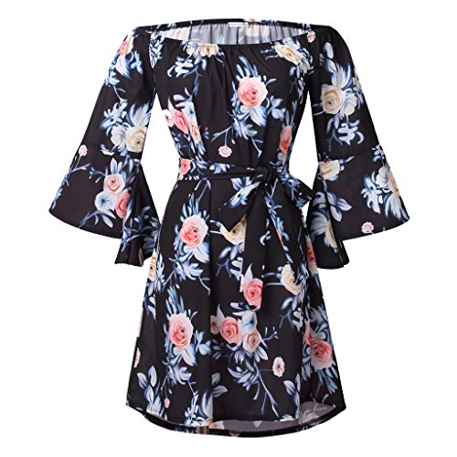 Colorful House Women's Beach Off-Shoulder Sleeved Floral Print Tunic Dress(Black 2)