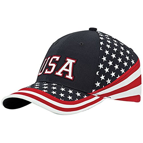 MG Washed Cotton Twill Stars & Stripes USA Ball Cap Hat  USA Flag ()