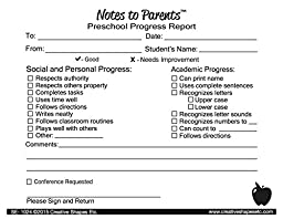 Creative Shapes Notes to Parents, Preschool Progress Report, 4.25 in x 5.5 in, Pack of 50