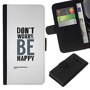 JackGot ( No se preocupe sea feliz ) Samsung Galaxy A3 la tarjeta de Crédito Slots PU Funda de cuero Monedero caso cubierta de piel