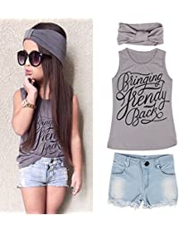 Summer Lovely Kid Girls Vest Top + Jeans Shorts+Headband Suit Outfit