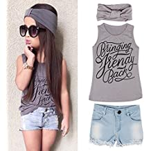 Muxika Summer Lovely Kid Girls Vest Top + Jeans Shorts+Headband Suit Outfit