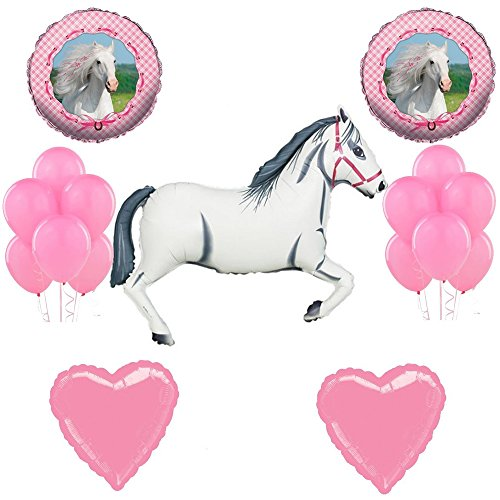 Combined Brands White Horse Cowgirl Party Supplies Rodeo Western Birthday Girl Balloon Decoration Kit ()