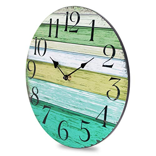 """Coindivi 14"""" Silent Large Wall Clock Battery Operated Non-Ticking, Vintage Wood Wall Clocks Decorative for Kitchen Home Office Wall Decor, Frameless Retro Wall Clock School Bathroom Living Room 3"""