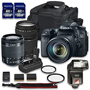 Canon EOS 70D DSLR Camera Bundle with Canon EF-S 18-55mm f/3.5-5.6 IS STM Lens + Canon EF 75-300mm f/4-5.6 III Lens + 2 PC 32 GB Memory Card + Camera Case + Flash + Power Grip
