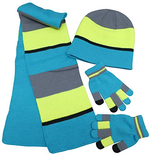 N'Ice Caps Adults Unisex Reversible Knit Hat/Scarf/Touchscreen Glove Set (One Size, Neon Blue/Neon Yellow)