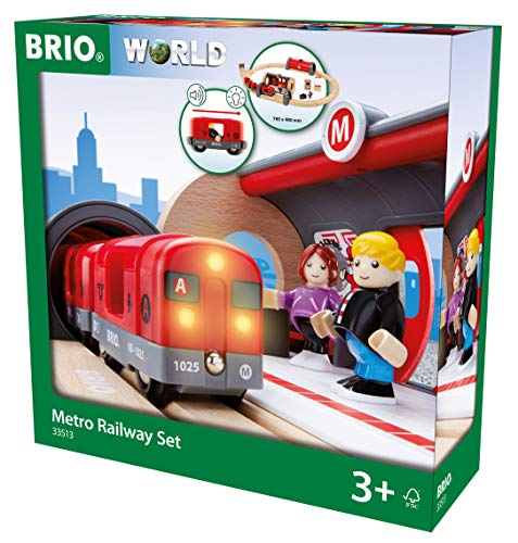 BRIO 33513 Metro Railway Set | 20 Piece Train Toy with Accessories and Wooden Tracks for Kids Age 3 and Up (Best Train Set For 5 Year Old)