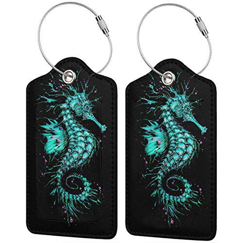 Luggage Tag Leather Tags Green Painting Sea Horse Full Privacy Cover Name ID Labels from Ling Lake