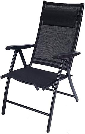 Silla Plegable Sillón reclinable Transpirable Cómodo Sillón Plegable Jardín Silla Exterior Minimalista (Color : Negro): Amazon.es: Hogar