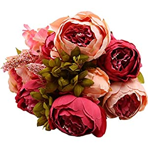 Sunlightam Artificial Peony Silk Flowers Bouquet Glorious Moral for Home Office Parties and Wedding (Old Style(8))