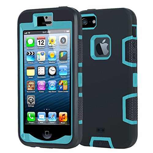 iPhone 5 Shockproof Case,Shockproof Heavy Duty Combo Hybrid Defender High Impact Body Rugged Hard PC & Silicone Case Protective Cover for Apple iPhone 5 5S SE (Black Green)