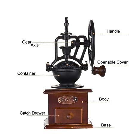 JFJL Molinillo de café Manual con ajustes de molienda y cajón de Captura Máquina de moler de la Mano de la Especia de la Amoladora de café del Estilo del ...