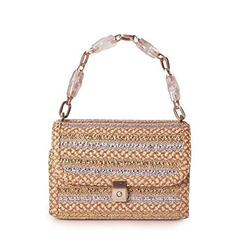 Eric Javits Luxury Fashion Designer Women's Handbag - St. Barths - Peanut/Silver/Gold by Eric Javits