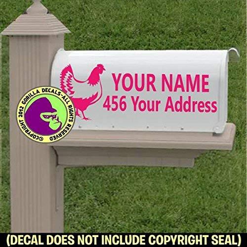 Farm Rooster Love Vinyl Decal Sticker B CUSTOM ADDRESS Chicken MAILBOX Set