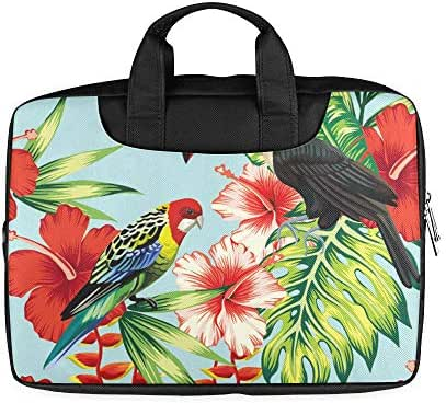 13 Inch Tropic Bird Toucan and Multicolor Parrot Briefcase Laptop Case with Handle Lightweight Laptop Briefcases for Men Fits MacBook Air Pro