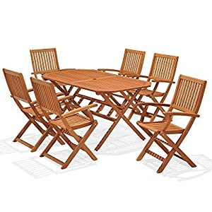 wooden garden furniture set 6 seat folding patio table chairs ideal for outdoor living and dining hardwood fsc approved eucalyptus wood - Garden Furniture 6 Seats