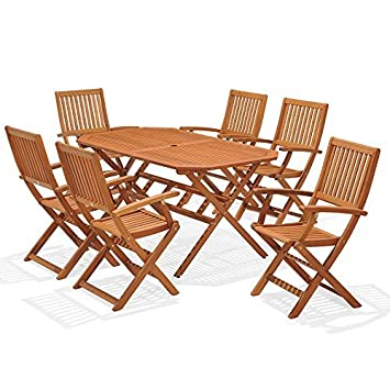 Wooden Garden Furniture Set 6 Seat Folding Patio Table Chairs