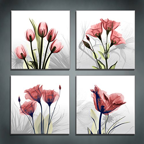 Abstract Painting Metal Wall (Moyedecor Art - 4 Panel Elegant Tulip Flower Canvas Print Wall Art Painting For Living Room Decor And Modern Home Decorations (Four 12X12in, Red flower prints framed))