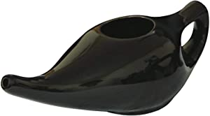 Leak Proof Durable Ceramic Neti Pot Non-Metallic and Lead Free Comfortable Grip | Microwave and Dishwasher Friendly Natural Treatment for Sinus and Congestion (Black)