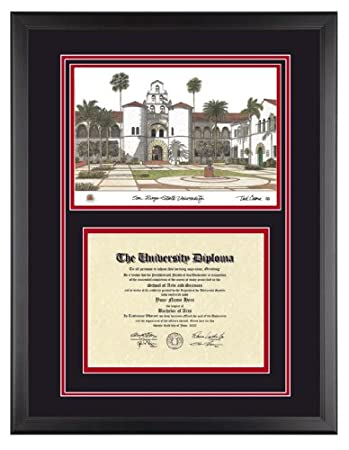 Amazon.com - SAN DIEGO STATE Diploma Frame with Artwork in Classic ...