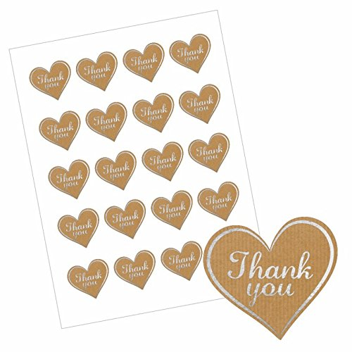 40 Heart Shaped Thank You Stickers - Paper/Silver Design for Teachers, Parents & Schools School Stickers