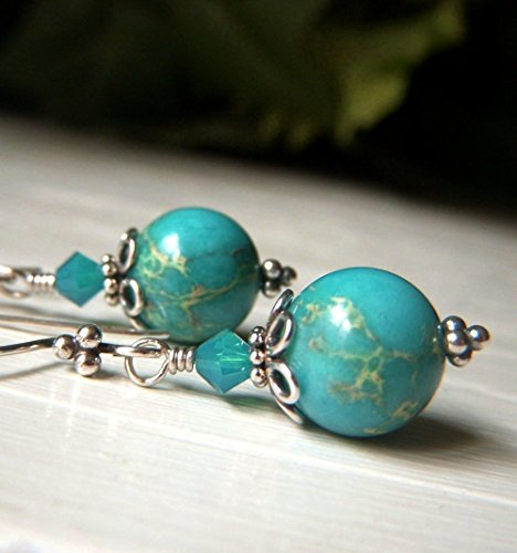 Round Impression Jasper Earrings - Sterling Silver - Turquoise Round Gemstone - Sea Sediment
